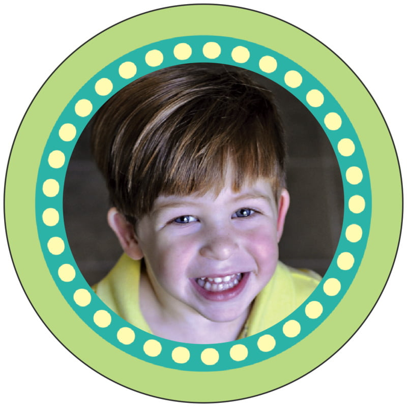 circle photo labels - pale green - circus (set of 20)