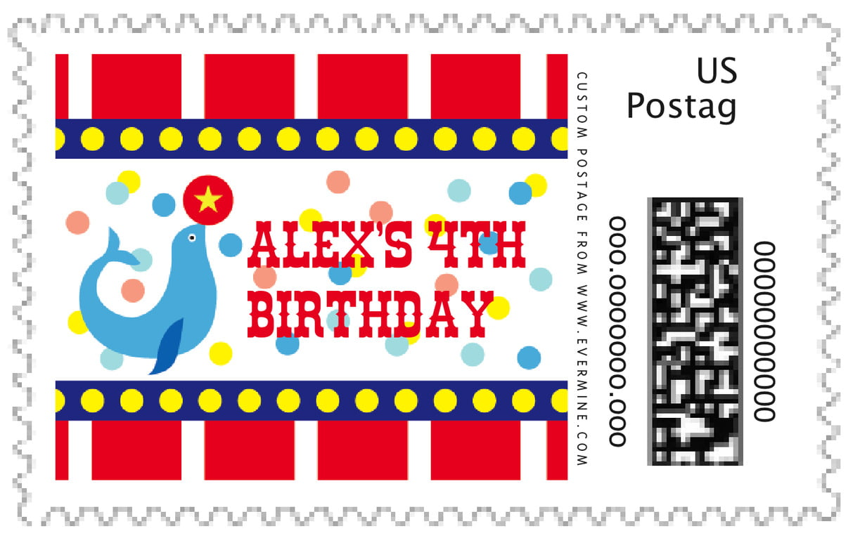custom large postage stamps - deep red - circus (set of 20)