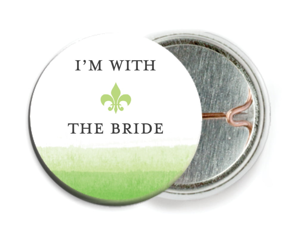 custom pin back buttons - lime - color wash (set of 6)