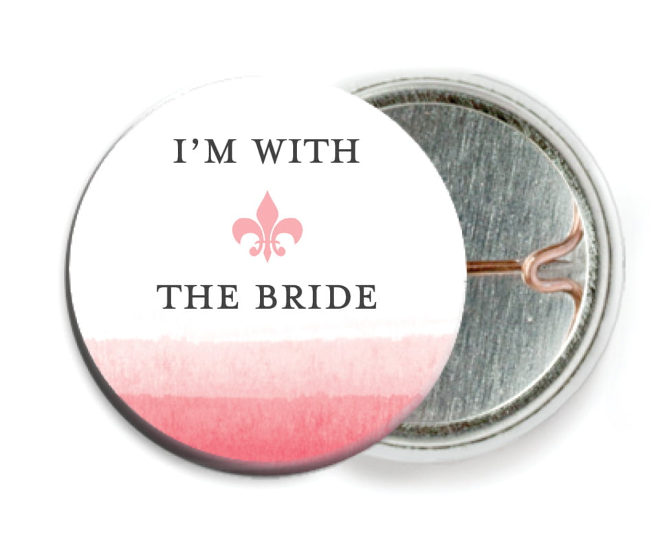 custom pin back buttons - pink - color wash (set of 6)