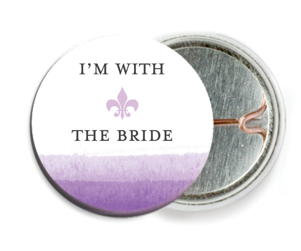 custom pin back buttons - lilac - color wash (set of 6)