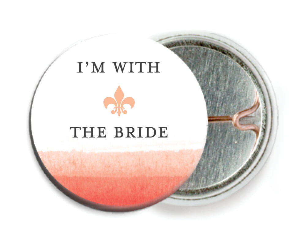 custom pin back buttons - coral - color wash (set of 6)