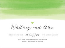 custom save-the-date cards - lime - color wash (set of 10)