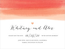 custom save-the-date cards - coral - color wash (set of 10)