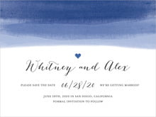 custom save-the-date cards - deep blue - color wash (set of 10)
