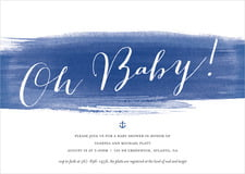baby shower invitations - deep blue - color wash (set of 10)