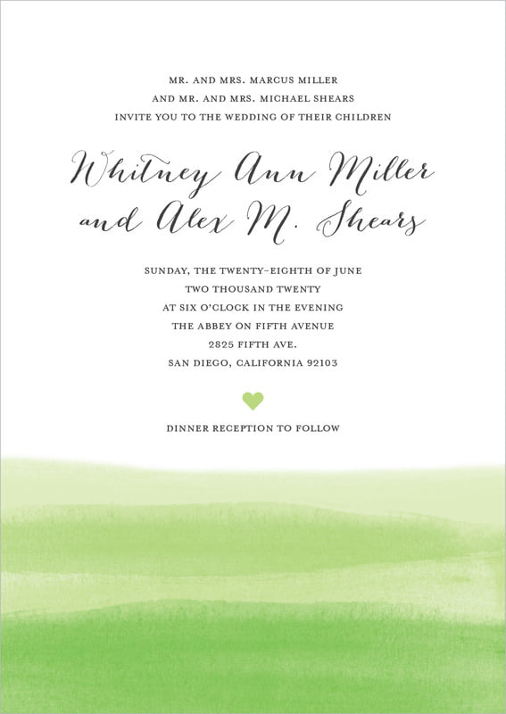 custom invitations - lime - color wash (set of 10)