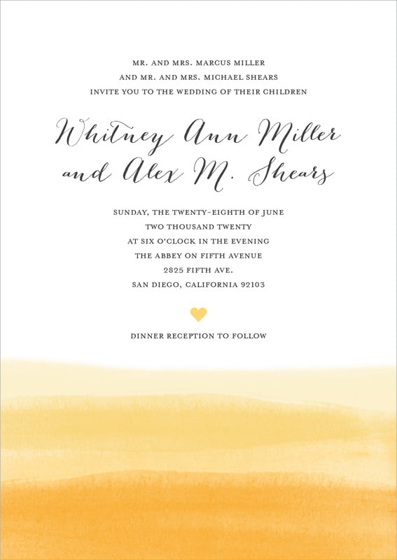 custom invitations - sunshine - color wash (set of 10)