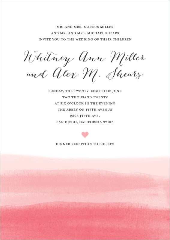 custom invitations - pink - color wash (set of 10)