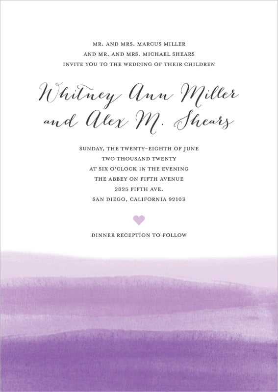 custom invitations - lilac - color wash (set of 10)