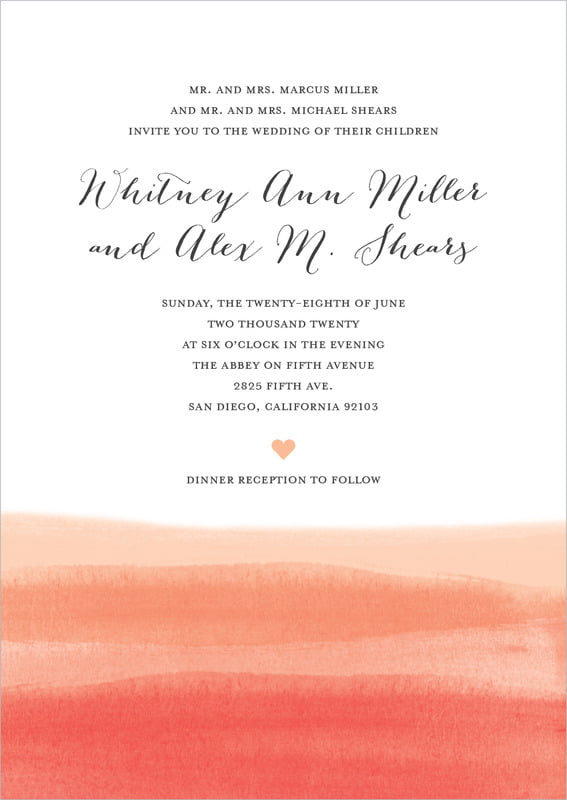 custom invitations - coral - color wash (set of 10)