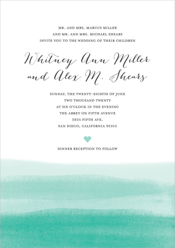 custom invitations - aruba - color wash (set of 10)