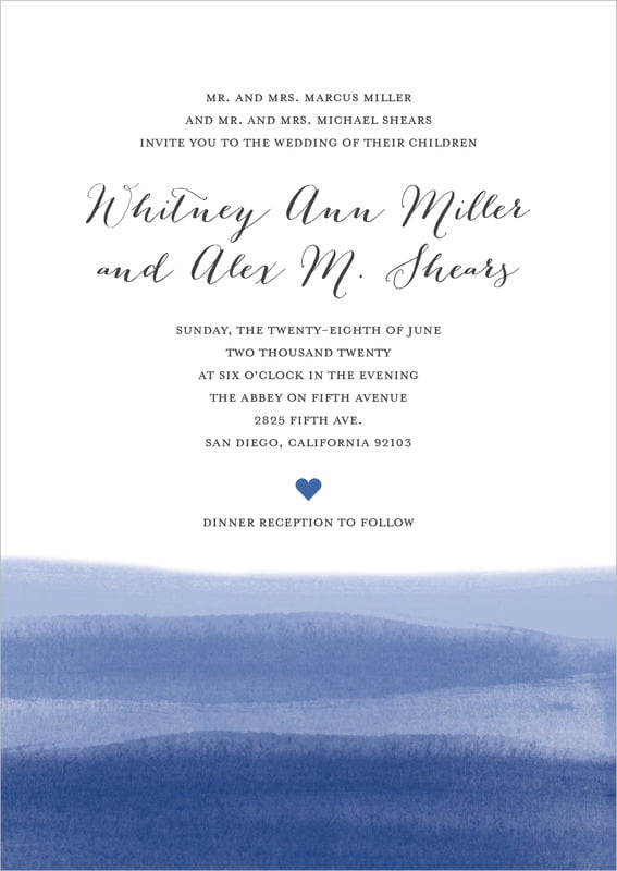 custom invitations - deep blue - color wash (set of 10)