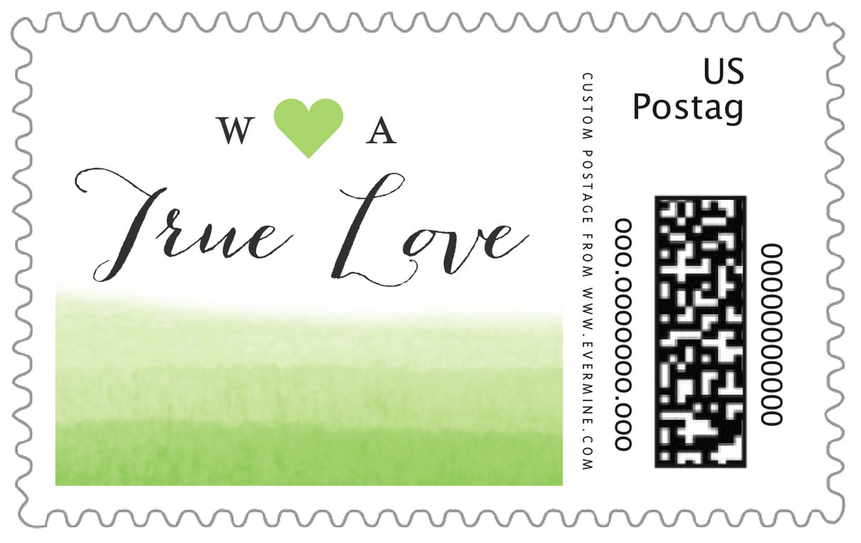 custom large postage stamps - lime - color wash (set of 20)