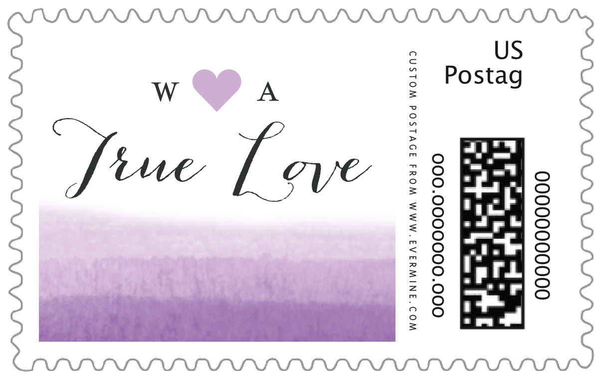 custom large postage stamps - lilac - color wash (set of 20)