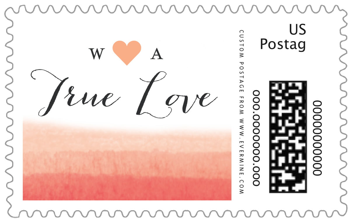 custom large postage stamps - coral - color wash (set of 20)