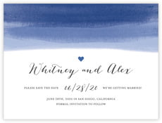 Color Wash Save The Date Card In Deep Blue