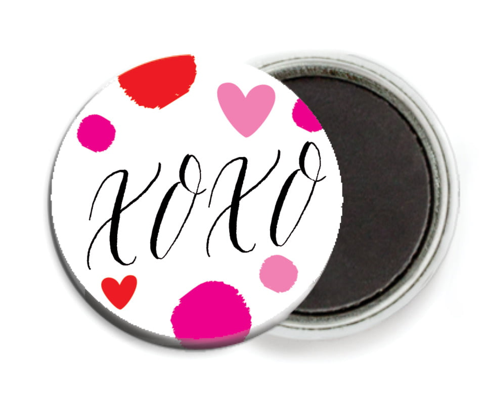 custom button magnets - pink - confetti hearts (set of 6)
