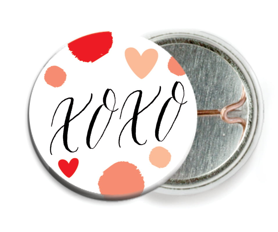 custom pin back buttons - peach - confetti hearts (set of 6)