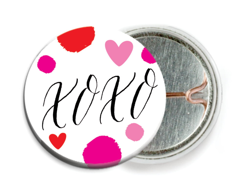 custom pin back buttons - pink - confetti hearts (set of 6)