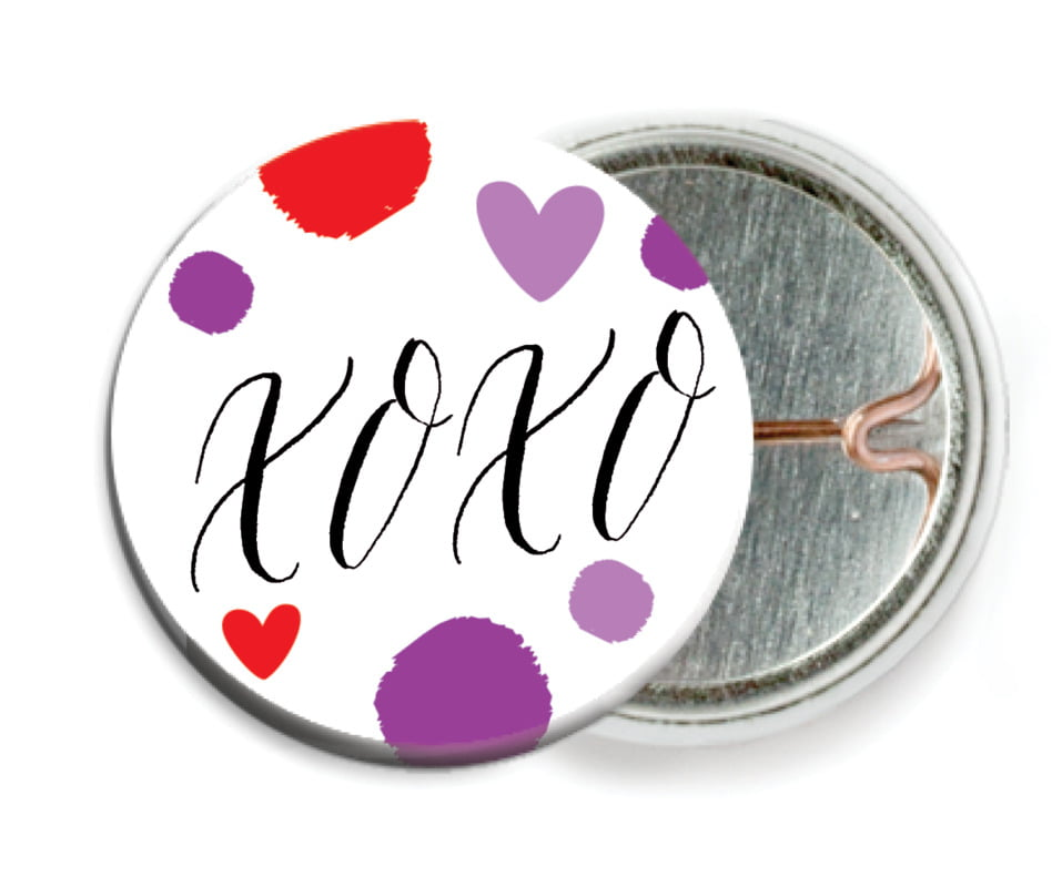 custom pin back buttons - purple - confetti hearts (set of 6)