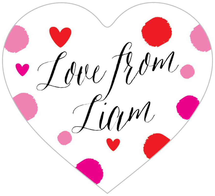 small heart food/craft labels - pink - confetti hearts (set of 20)