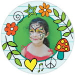 Doodle Circle Photo Label In Aruba & Sky Blue