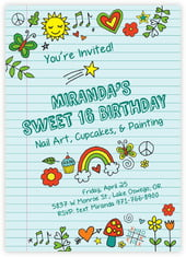 Doodle sweet sixteen invitations