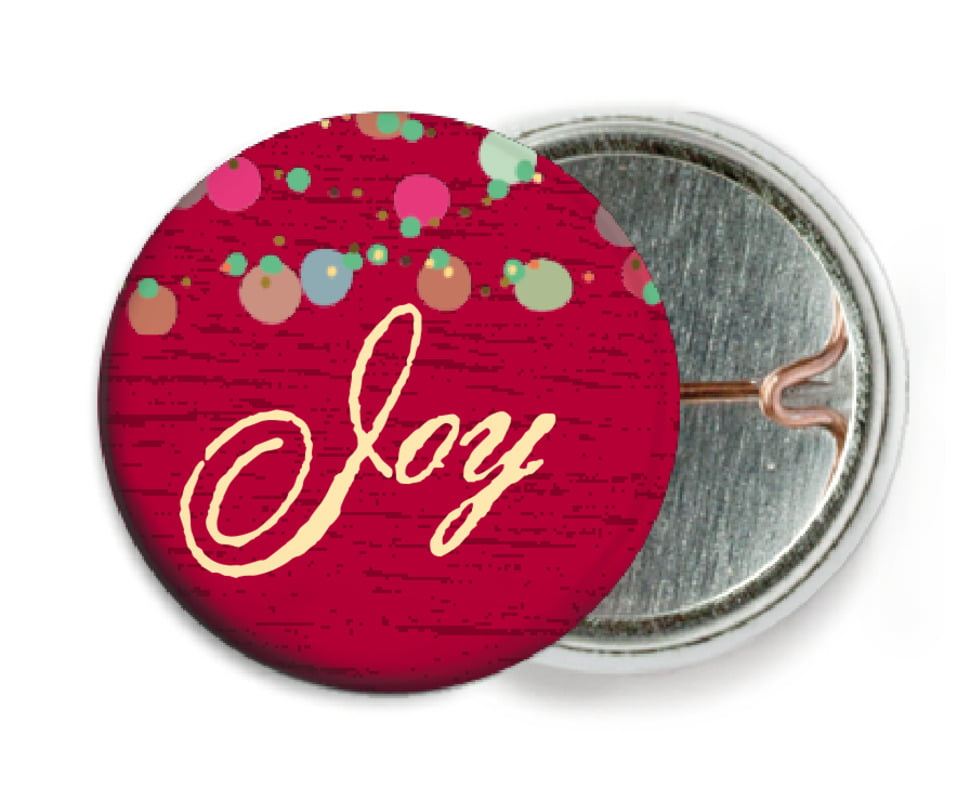 custom pin back buttons - deep red - dot garland (set of 6)
