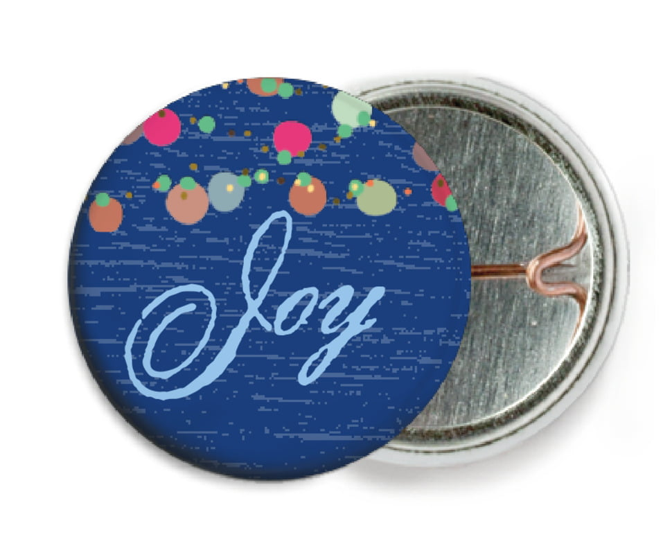 custom pin back buttons - deep blue - dot garland (set of 6)