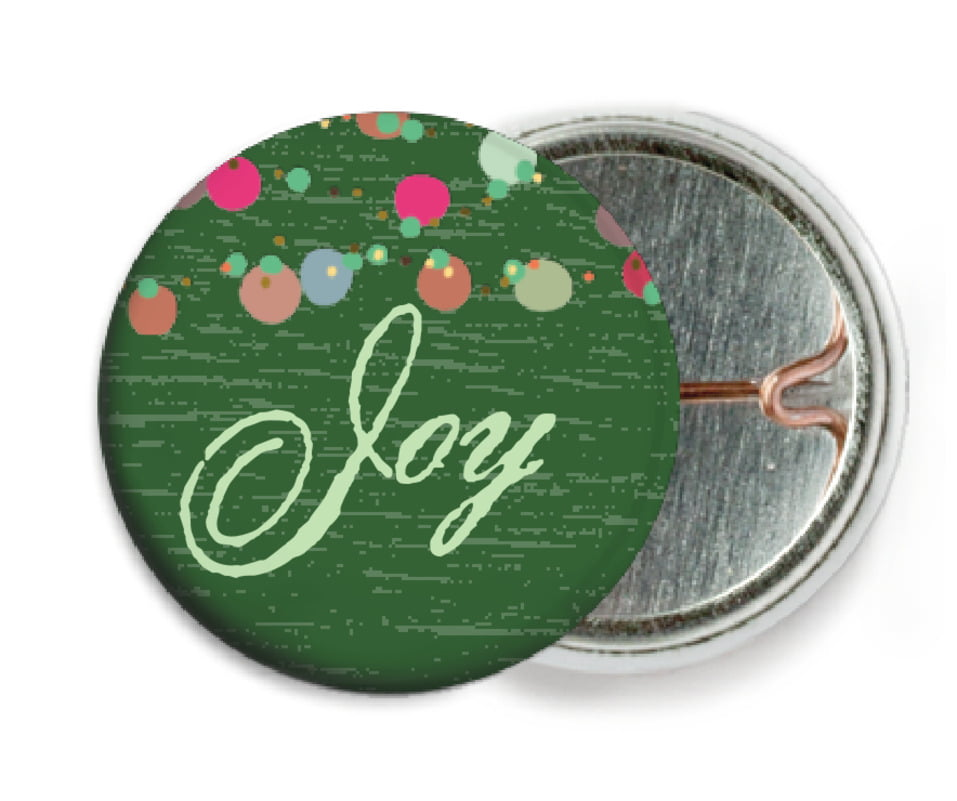 custom pin back buttons - deep green - dot garland (set of 6)