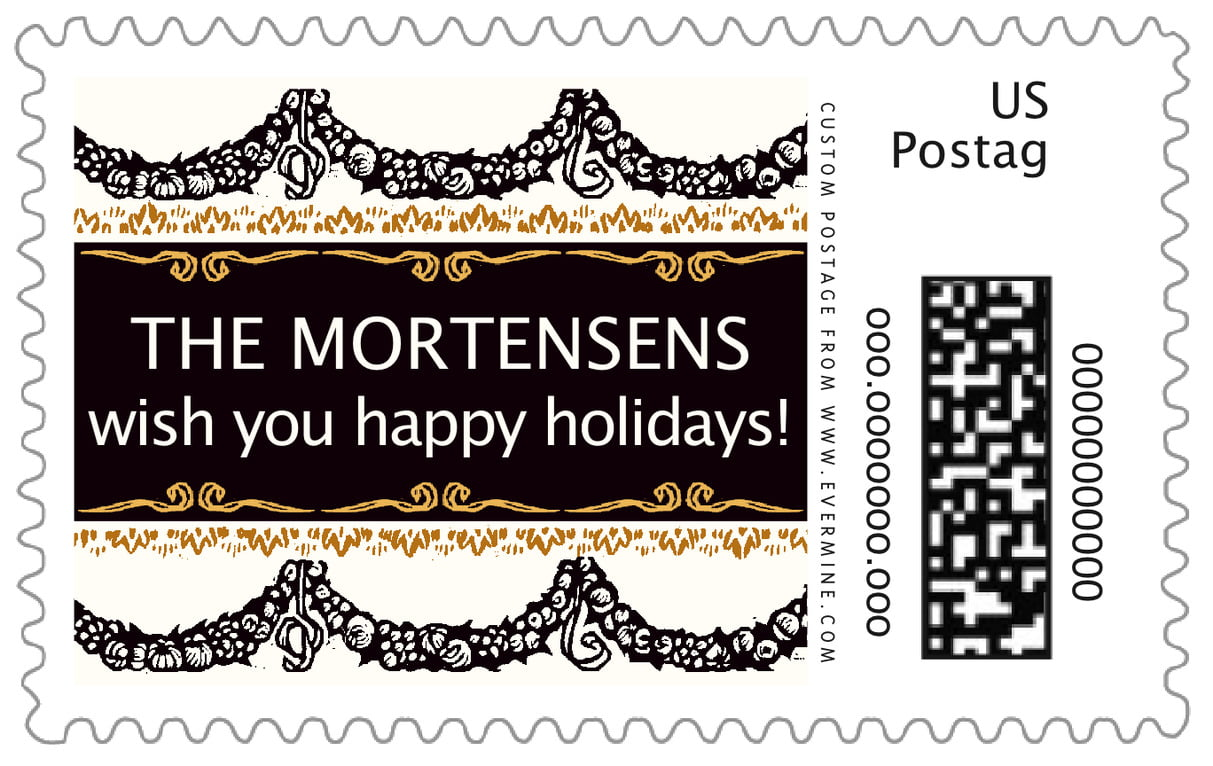 custom large postage stamps - tuxedo - deck the halls (set of 20)