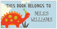 Dinosaur Bookplate In Tangerine & Red