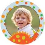 Dinosaur Circle Photo Label In Tangerine & Red