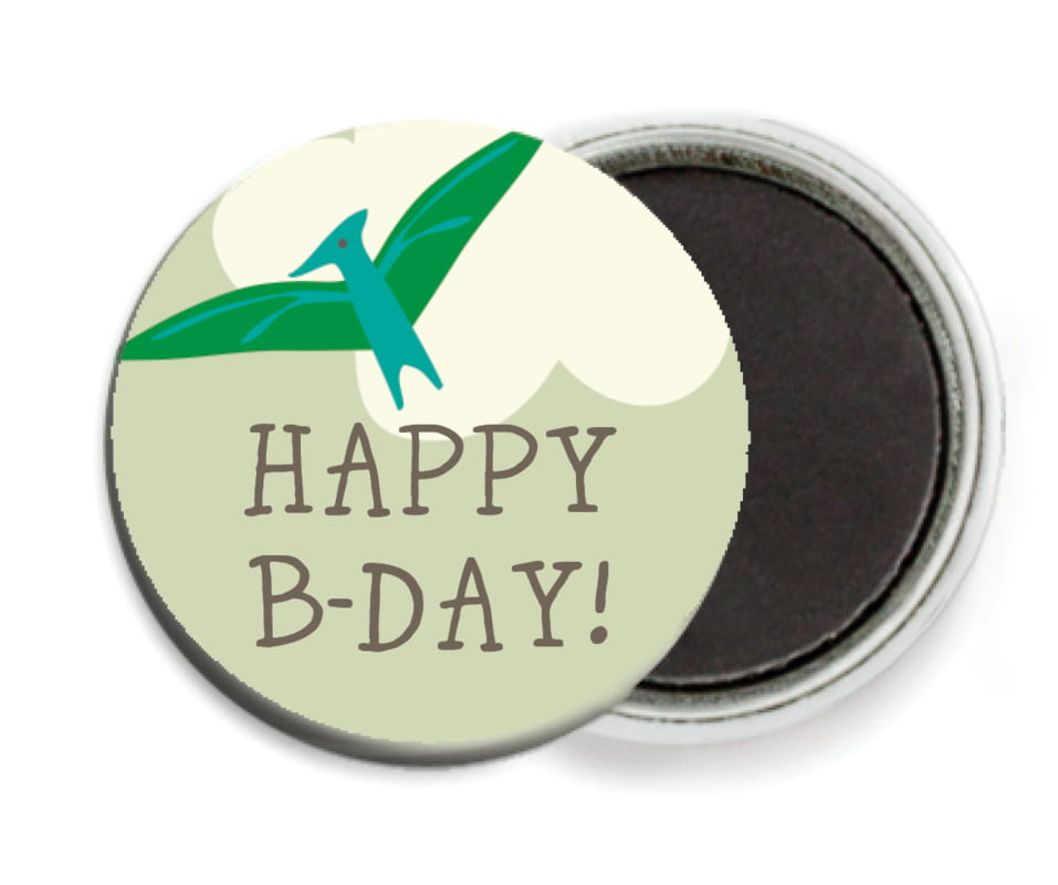 custom button magnets - green & blue - dinosaur (set of 6)