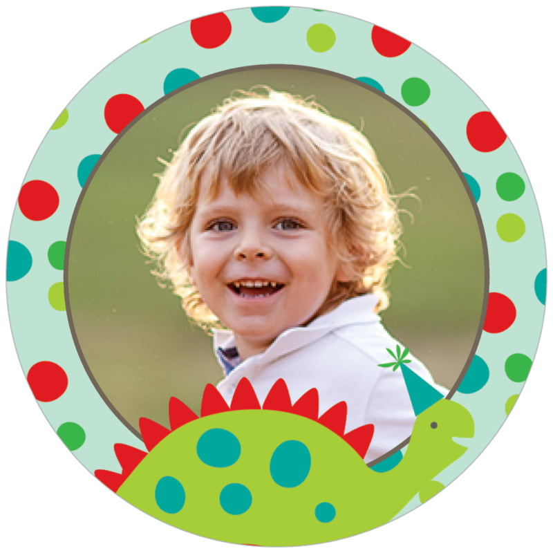 circle photo labels - red & lime - dinosaur (set of 20)