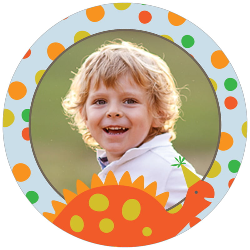 circle photo labels - tangerine & red - dinosaur (set of 20)