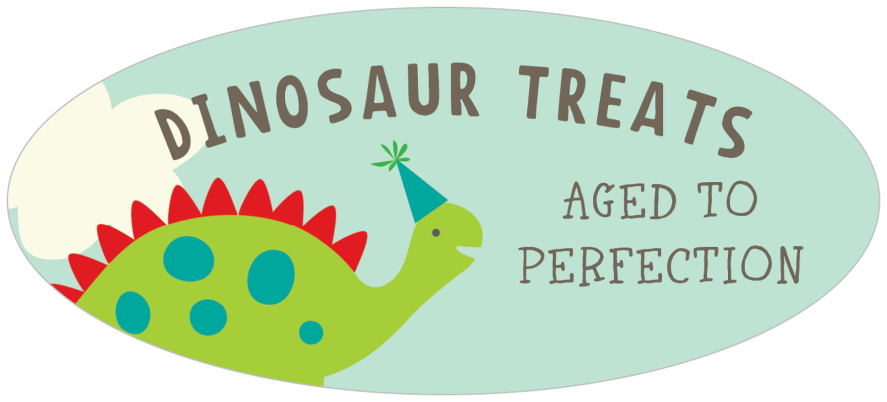 oval food/craft labels - red & lime - dinosaur (set of 30)