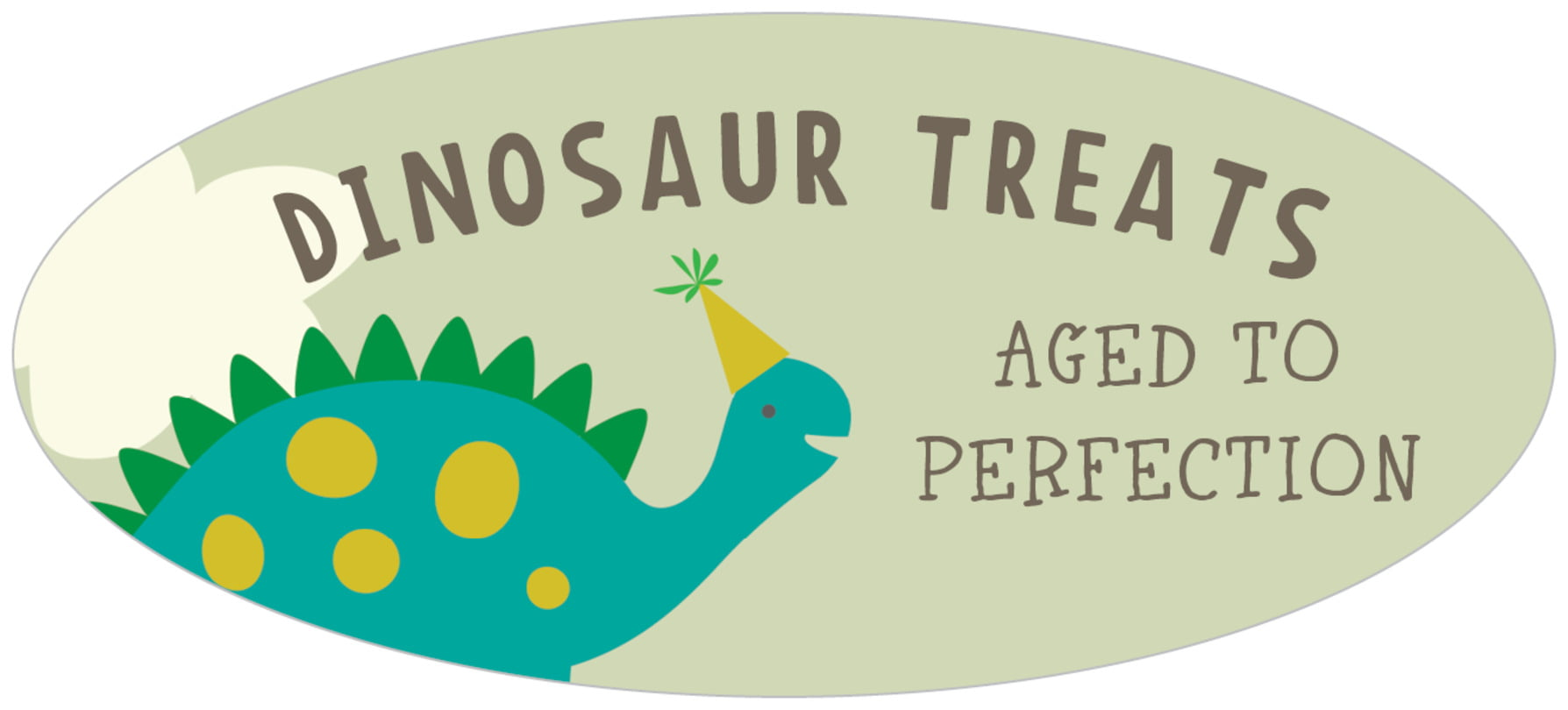 oval food/craft labels - green & blue - dinosaur (set of 30)