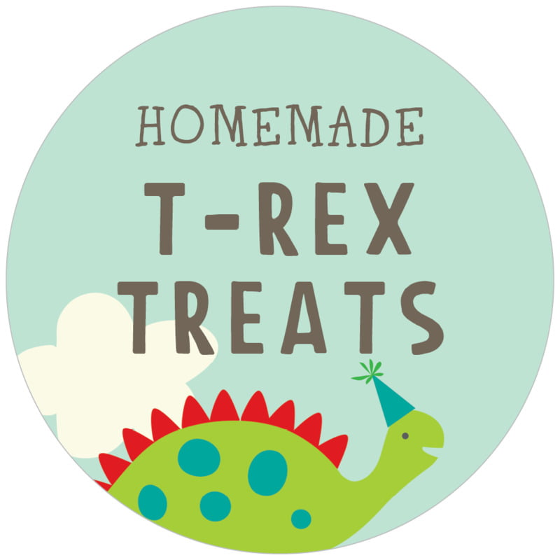 circle food/craft labels - red & lime - dinosaur (set of 20)