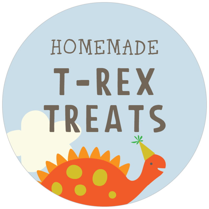 circle food/craft labels - tangerine & red - dinosaur (set of 20)