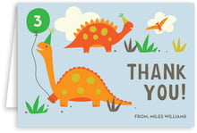 Dinosaur Folding Card In Tangerine & Red