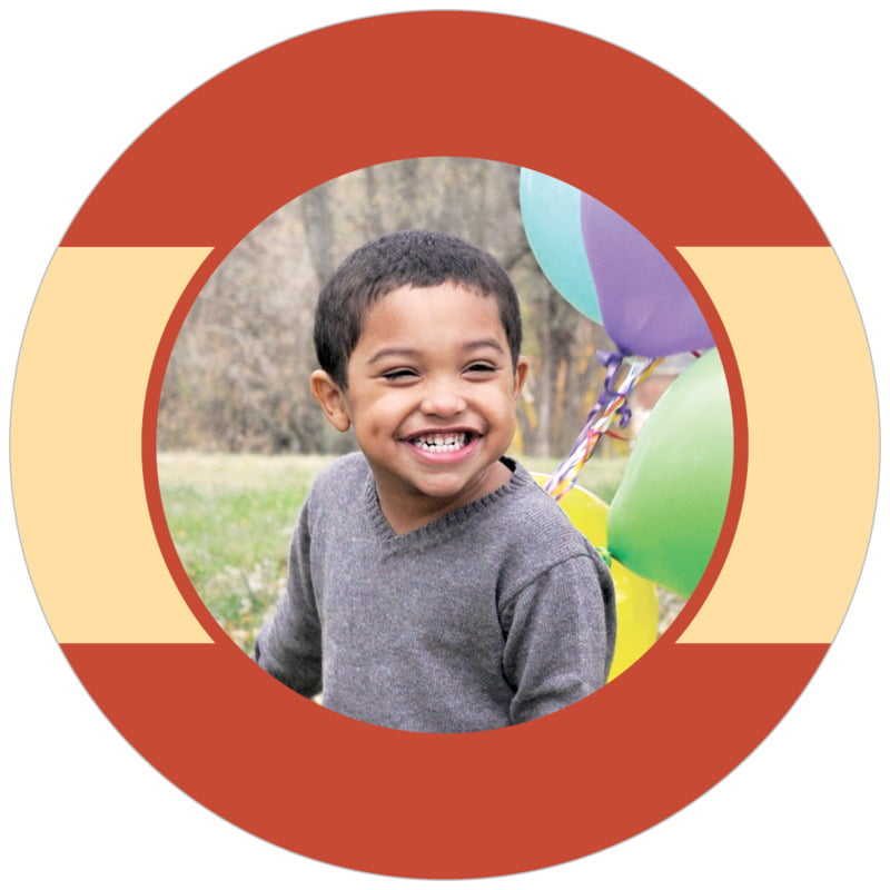circle photo labels - brick red & gold - dottie (set of 20)