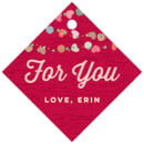 Divine Hearts Small Diamond Hang Tag In Deep Red