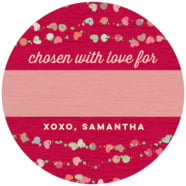Divine Hearts Large Circle Gift Label In Deep Red