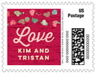 Divine Hearts wedding postage stamps