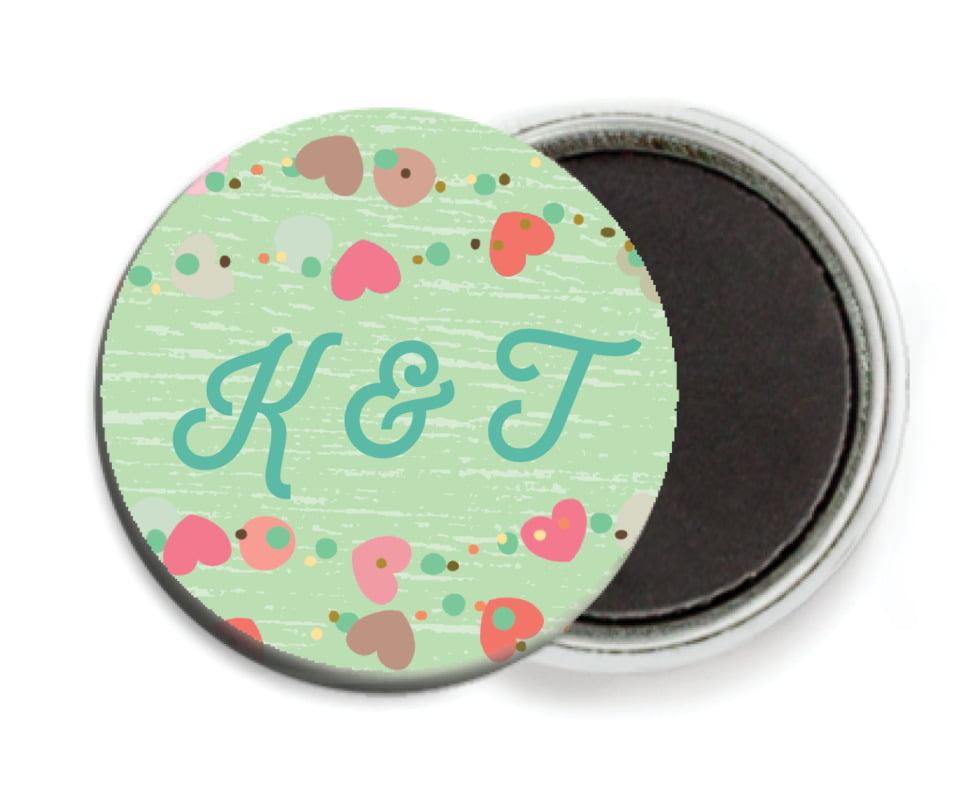 custom button magnets - spring green - divine hearts (set of 6)