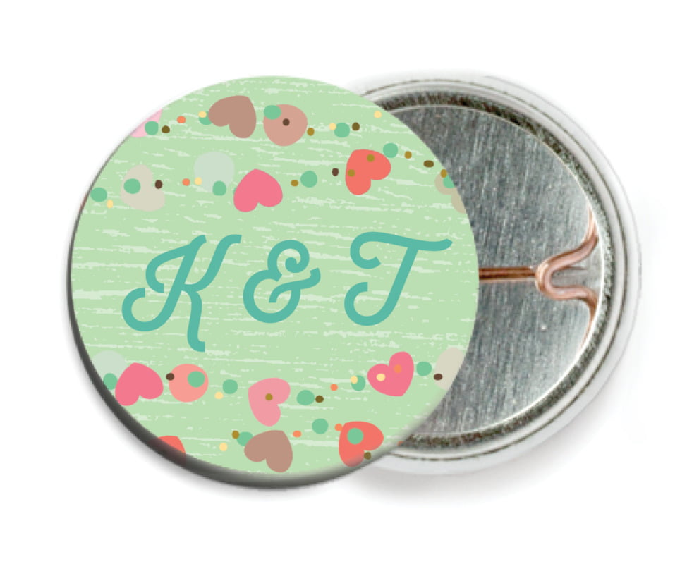 custom pin back buttons - spring green - divine hearts (set of 6)