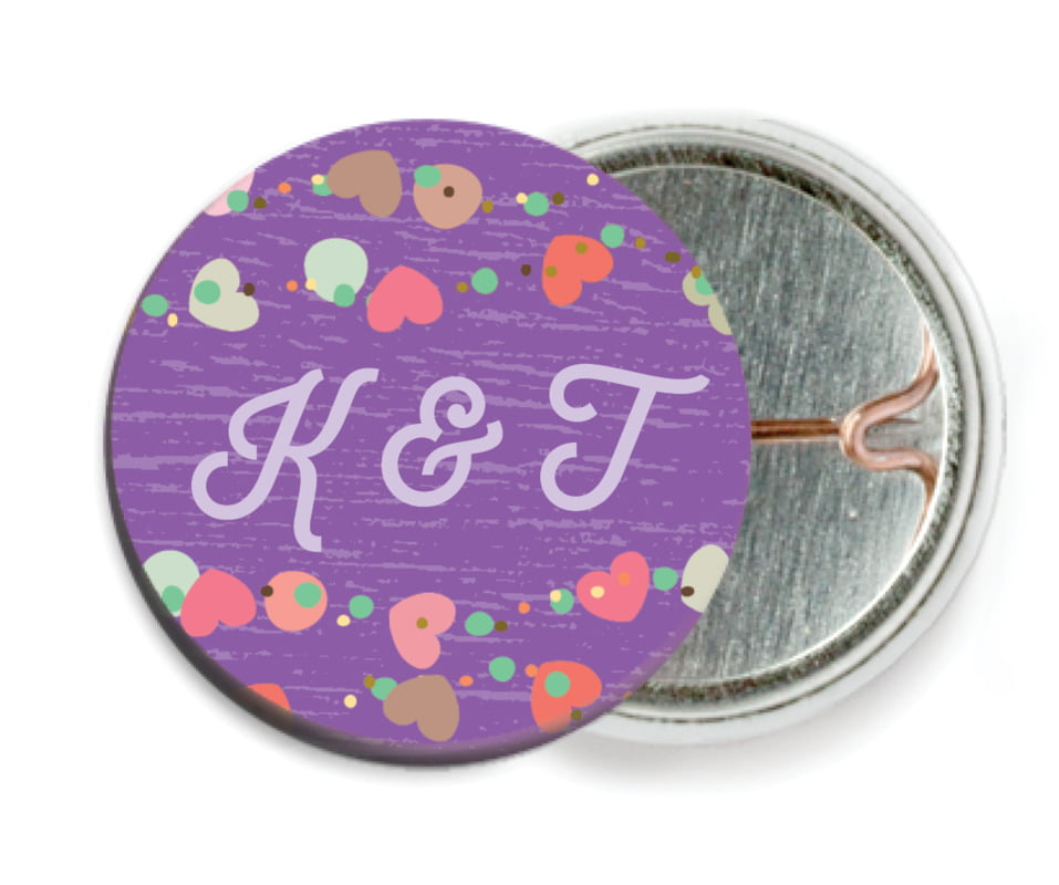 custom pin back buttons - purple - divine hearts (set of 6)