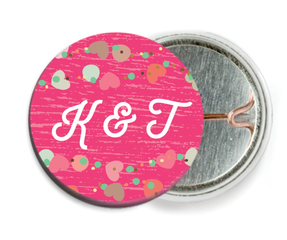 custom pin back buttons - bright pink - divine hearts (set of 6)